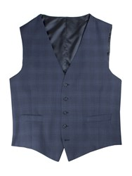 Pierre Cardin Men's Barlow Check Big Andtall Waistcoat Blue
