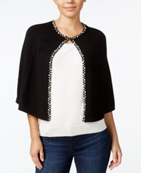 Calvin Klein Embellished Faux Pearl Capelet Evening Wrap Black
