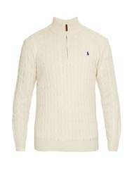 Polo Ralph Lauren Funnel Neck Cable Knit Silk Sweater Cream