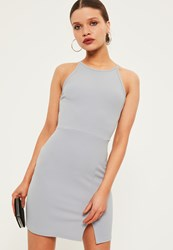 Missguided Petite Exclusive Grey Square Neck Midi Dress