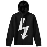 Neil Barrett Large Lightning Bolt Side Zip Hoody Black