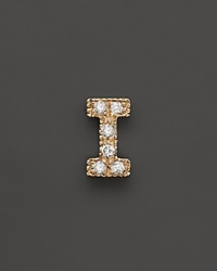 Zoe Chicco 14K Yellow Gold Pave Single Initial Stud Earring .04.06 Ct. T.W.