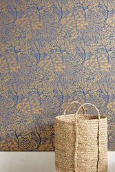 Dwellstudio Sprouted Shrubs Wallpaper Navy