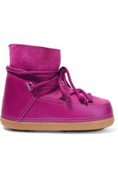 Inuikii Faux Fur Trimmed Leather And Suede Ankle Boots Magenta