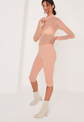 Missguided Basic Cropped Leggings Nude Beige