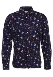 Knowledge Cotton Apparel Flower Shirt Peacoat Multicoloured
