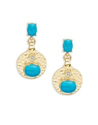 Rj Graziano Goldtone Hammered Disc And Oval Stone Drop Earrings Turquoise