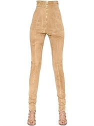 Balmain Stretch Suede Leather Leggings