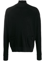 The Viridi Anne Roll Neck Long Sleeve Top Black