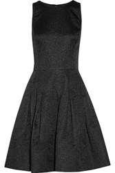 Oscar De La Renta Pleated Metallic Jacquard Dress Black