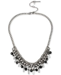 Kenneth Cole Hematite Tone Black And Clear Shaky Bead Frontal Necklace