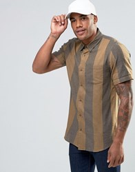 New Look Shirt With Retro Stripe And Short Sleeves In Khaki Khaki Green