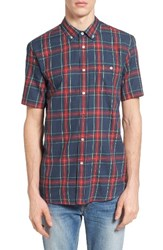 Obey Men's Pine Plaid Woven Shirt Heather Navy Multi