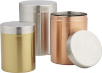 Cb2 3 Piece Mixed Metal Canister Set