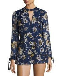 Band Of Gypsies Yoryu Tiger Lily Short Jumpsuit Blue Yellow