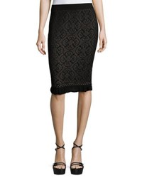 Max Studio Ruffled Hem Knit Pencil Skirt Black