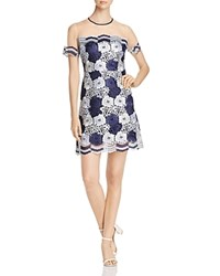T Tahari Jolie Floral Lace Illusion Dress Navy Ivory