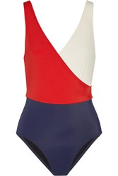 Solid And Striped The Ballerina Color Block Swimsuit Red