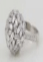 Suzanne Kalan 18K White Gold And Diamond Bagette Ball Ring Silver