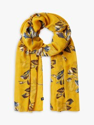 Joules Wensley Floral Print Sheer Scarf Yellow Mix