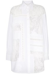 Golden Goose Deluxe Brand Flora Lace Insert Oversized Cotton Shirt White