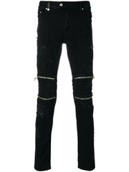Just Cavalli Fitted Biker Trousers Cotton Calf Leather Polyester Spandex Elastane Black