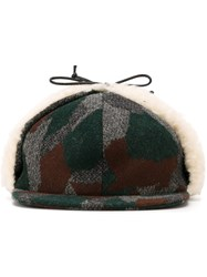 Maison Kitsune Shearling Detail Patterned Cap Multicolour