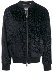 Just Cavalli Leopard Print Bomber Jacket Black