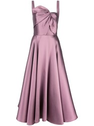 Marchesa Notte Knot Flared Gown Purple