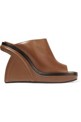 Marni Leather Wedge Sandals Brown