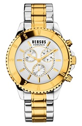 Versus By Versace 'Tokyo' Chronograph Watch 44Mm Silver Gold