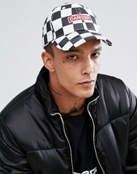 Granted Baseball Cap In White Checkerboard With Danger Print White