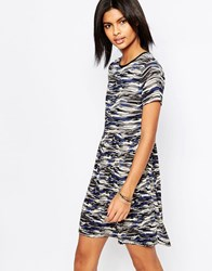 Pepe Jeans Gannet Camo Dress With Pleated Skirt Grey