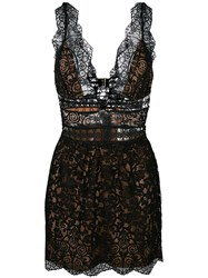 For Love And Lemons Plunge Scallop Trim Dress Black