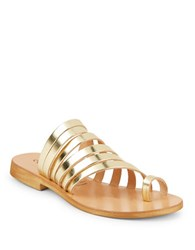 Cocobelle Palermo Strappy Leather Slide Sandals Gold