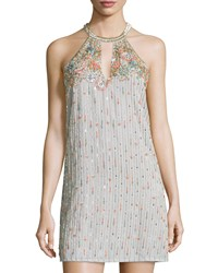 Parker Sansa Beaded Halter Dress Gray