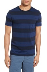 French Connection Men's Varsity View Stripe Slim T Shirt Blue Depths Marine