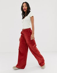 Noisy May Wide Leg High Waisted Cord Trousers In Rust Brown