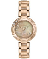 Citizen Women's Carina Diamond Accent Rose Gold Tone Stainless Steel Bracelet Watch 28Mm Em0463 51Y