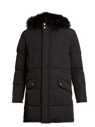 Yves Salomon Fur Lined Quilted Canvas Coat Black