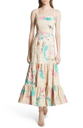 Tracy Reese Tiered Silk Embroidered Maxi Dress Raw Silk