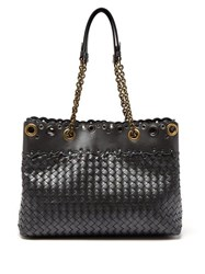 Bottega Veneta Intrecciato Cut Out Leather Tote Silver