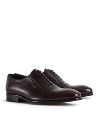Reiss Rivers Leather Brogues In Bordeaux