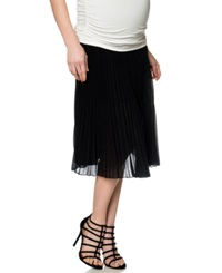 A Pea In The Pod Pleated Maternity Midi Skirt Black