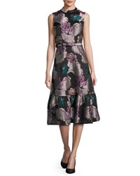 Co Belted Floral Brocade Sleeveless Flounce Dress Multi Multi Colors