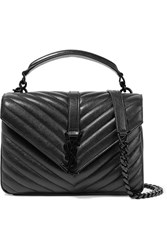 Saint Laurent College Medium Quilted Leather Shoulder Bag Black