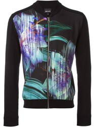 Just Cavalli Flower Print Front Zip Sweater Black