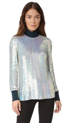 3.1 Phillip Lim Long Sleeve Iridescent Sequin Top