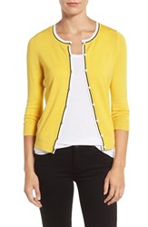 Halogenr Petite Women's Halogen Three Quarter Sleeve Crewneck Cardigan Yellow Citrus Tipped Pattern