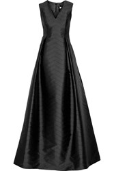 Alexis Dao Perforated Satin Twill Gown Black